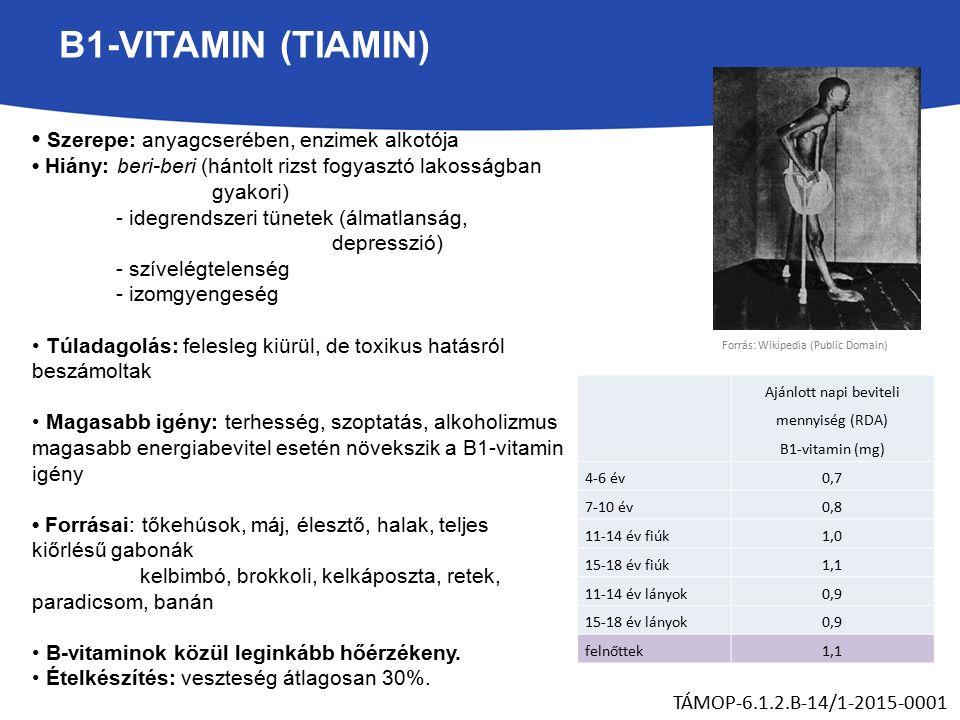 B1-VITAMIN (TIAMIN) Szerepe: anyagcserében, enzimek alkotója Hiány: beri-beri (hántolt rizst fogyasztó lakosságban gyakori) - idegrendszeri tünetek (álmatlanság, depresszió) - szívelégtelenség - izomgyengeség Túladagolás: felesleg kiürül, de toxikus hatásról beszámoltak Magasabb igény: terhesség, szoptatás, alkoholizmus magasabb energiabevitel esetén növekszik a B1-vitamin igény Forrásai: tőkehúsok, máj, élesztő, halak, teljes kiőrlésű gabonák kelbimbó, brokkoli, kelkáposzta, retek, paradicsom, banán B-vitaminok közül leginkább hőérzékeny.