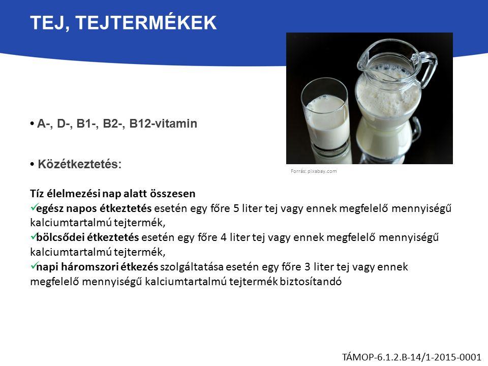 TEJ, TEJTERMÉKEK A-, D-, B1-, B2-, B12-vitamin Közétkeztetés: Tíz élelmezési nap alatt összesen egész napos étkeztetés esetén egy főre 5 liter tej vagy ennek megfelelő mennyiségű kalciumtartalmú tejtermék, bölcsődei étkeztetés esetén egy főre 4 liter tej vagy ennek megfelelő mennyiségű kalciumtartalmú tejtermék, napi háromszori étkezés szolgáltatása esetén egy főre 3 liter tej vagy ennek megfelelő mennyiségű kalciumtartalmú tejtermék biztosítandó TÁMOP-6.1.2.B-14/1-2015-0001 Forrás: pixabay.com