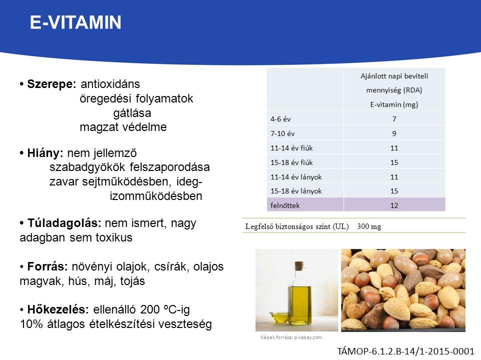 E-VITAMIN Szerepe: antioxidáns öregedési folyamatok gátlása magzat védelme Hiány: nem jellemző szabadgyökök felszaporodása zavar sejtműködésben, ideg- izomműködésben Túladagolás: nem ismert, nagy adagban sem toxikus Forrás: növényi olajok, csírák, olajos magvak, hús, máj, tojás Hőkezelés: ellenálló 200 ºC-ig 10% átlagos ételkészítési veszteség TÁMOP-6.1.2.B-14/1-2015-0001 Ajánlott napi beviteli mennyiség (RDA) E-vitamin (mg) 4-6 év7 7-10 év9 11-14 év fiúk11 15-18 év fiúk15 11-14 év lányok11 15-18 év lányok15 felnőttek12 Legfelső biztonságos szint (UL)300 mg Képek forrása: pixabay.com