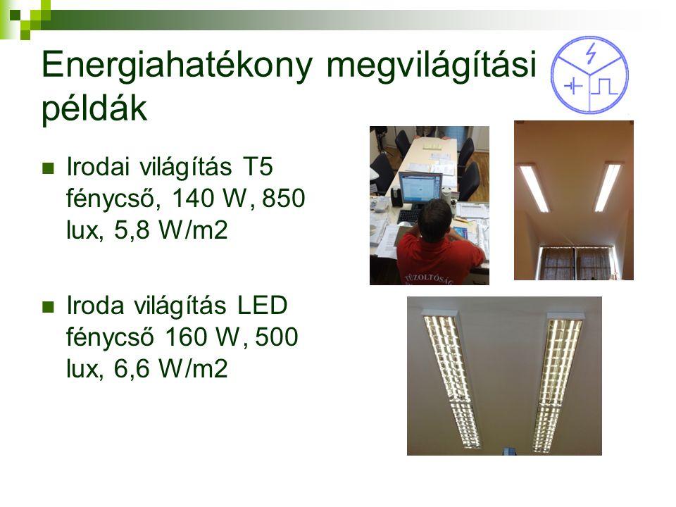 Energiahatékony megvilágítási példák Irodai világítás T5 fénycső, 140 W, 850 lux, 5,8 W/m2 Iroda világítás LED fénycső 160 W, 500 lux, 6,6 W/m2