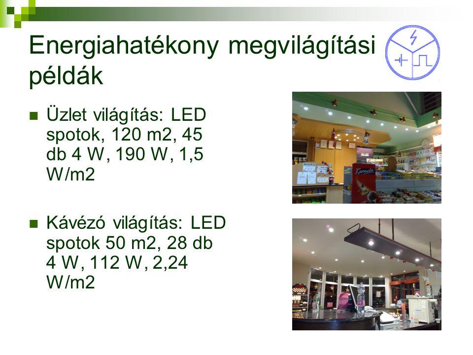 Energiahatékony megvilágítási példák Üzlet világítás: LED spotok, 120 m2, 45 db 4 W, 190 W, 1,5 W/m2 Kávézó világítás: LED spotok 50 m2, 28 db 4 W, 112 W, 2,24 W/m2