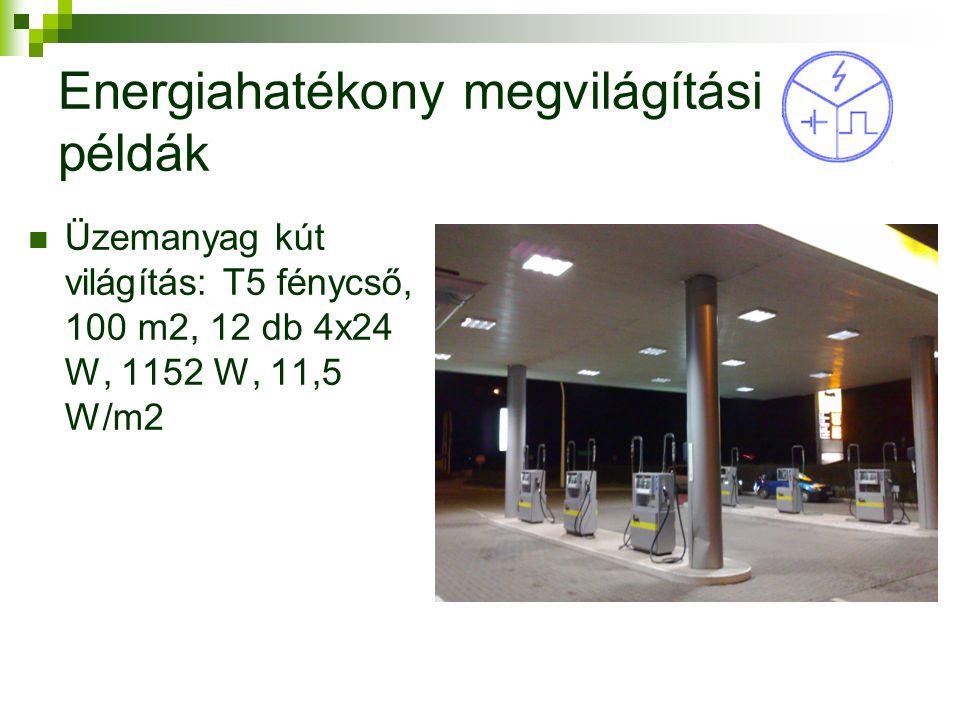 Energiahatékony megvilágítási példák Üzemanyag kút világítás: T5 fénycső, 100 m2, 12 db 4x24 W, 1152 W, 11,5 W/m2