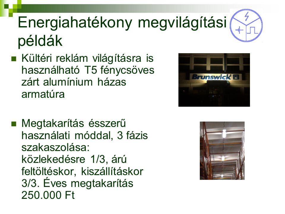 Energiahatékony megvilágítási példák Kültéri reklám világításra is használható T5 fénycsöves zárt alumínium házas armatúra Megtakarítás ésszerű használati móddal, 3 fázis szakaszolása: közlekedésre 1/3, árú feltöltéskor, kiszállításkor 3/3.