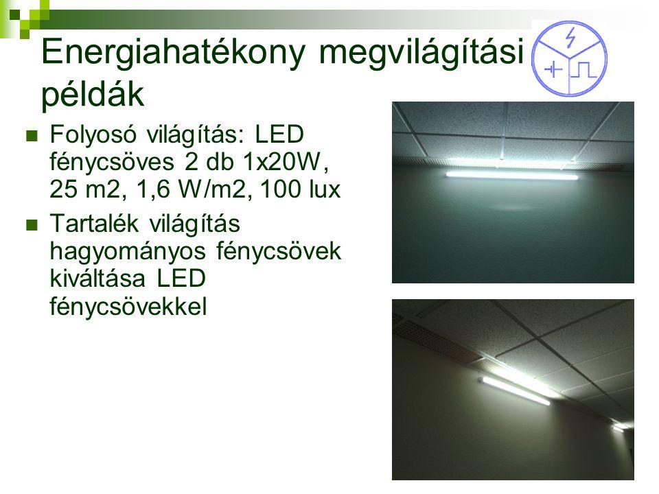 Energiahatékony megvilágítási példák Folyosó világítás: LED fénycsöves 2 db 1x20W, 25 m2, 1,6 W/m2, 100 lux Tartalék világítás hagyományos fénycsövek kiváltása LED fénycsövekkel