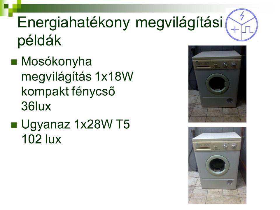 Energiahatékony megvilágítási példák Mosókonyha megvilágítás 1x18W kompakt fénycső 36lux Ugyanaz 1x28W T5 102 lux 17
