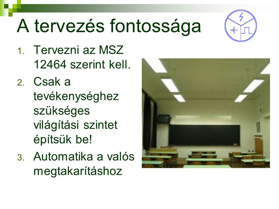 5 A tervezés fontossága 1. Tervezni az MSZ 12464 szerint kell.