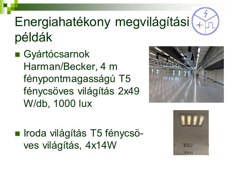 Energiahatékony megvilágítási példák Gyártócsarnok Harman/Becker, 4 m fénypontmagasságú T5 fénycsöves világítás 2x49 W/db, 1000 lux Iroda világítás T5 fénycsö- ves világítás, 4x14W 9