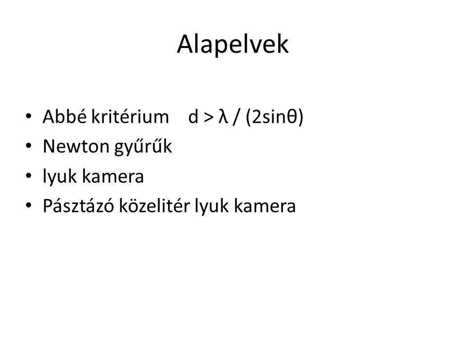 Alapelvek Abbé kritérium d > λ / (2sinθ) Newton gyűrűk lyuk kamera Pásztázó közelitér lyuk kamera