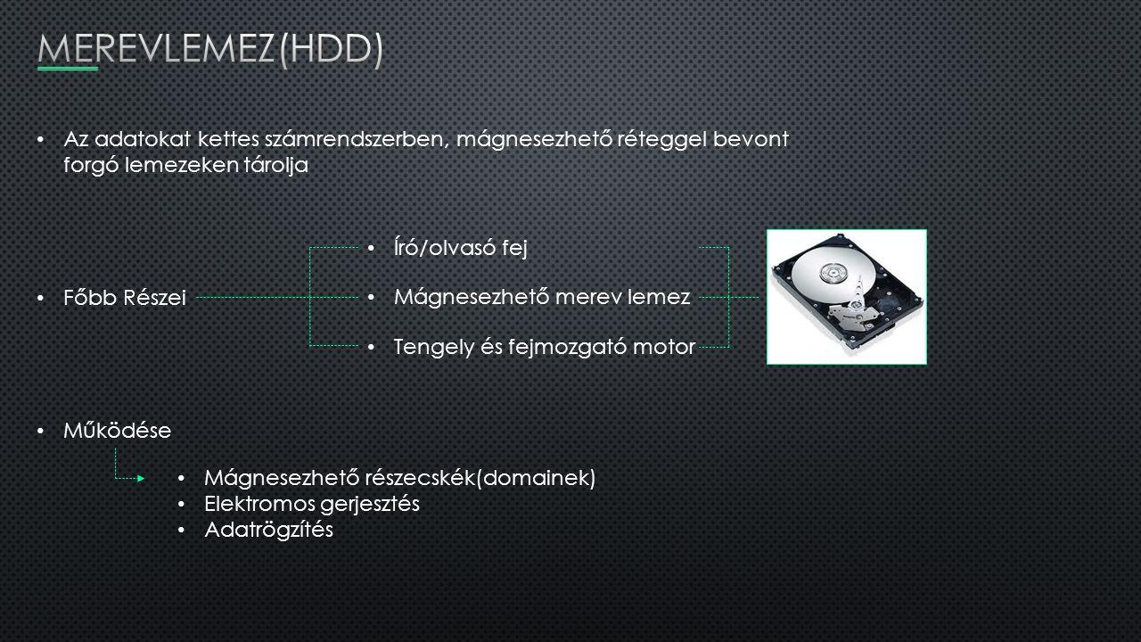 Az adatokat kettes számrendszerben, mágnesezhető réteggel bevont forgó lemezeken tárolja Főbb Részei Író/olvasó fej Mágnesezhető merev lemez Tengely é