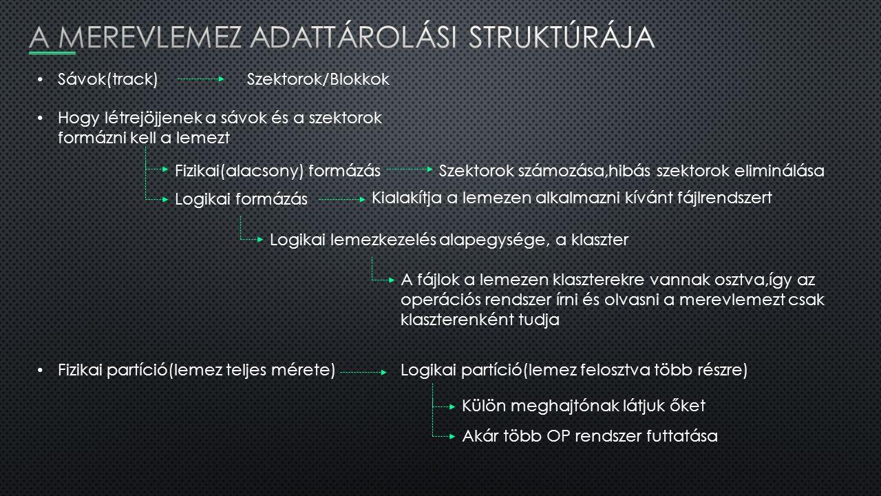 Sávok(track)Szektorok/Blokkok Hogy létrejöjjenek a sávok és a szektorok formázni kell a lemezt Fizikai(alacsony) formázásSzektorok számozása,hibás sze
