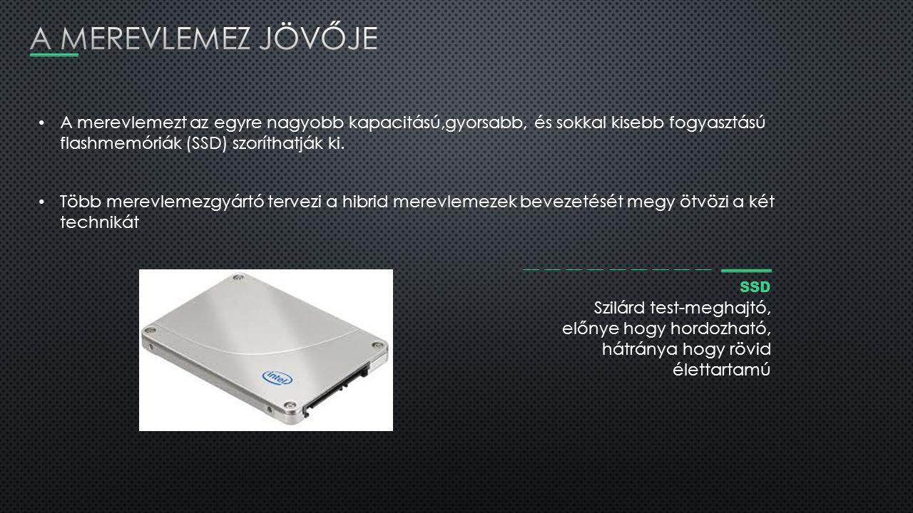 A merevlemezt az egyre nagyobb kapacitású,gyorsabb, és sokkal kisebb fogyasztású flashmemóriák (SSD) szoríthatják ki. Több merevlemezgyártó tervezi a