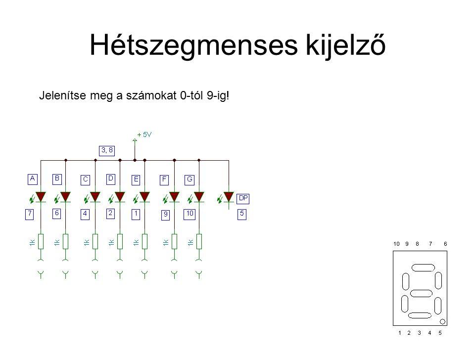 Hétszegmenses kijelző Jelenítse meg a számokat 0-tól 9-ig!
