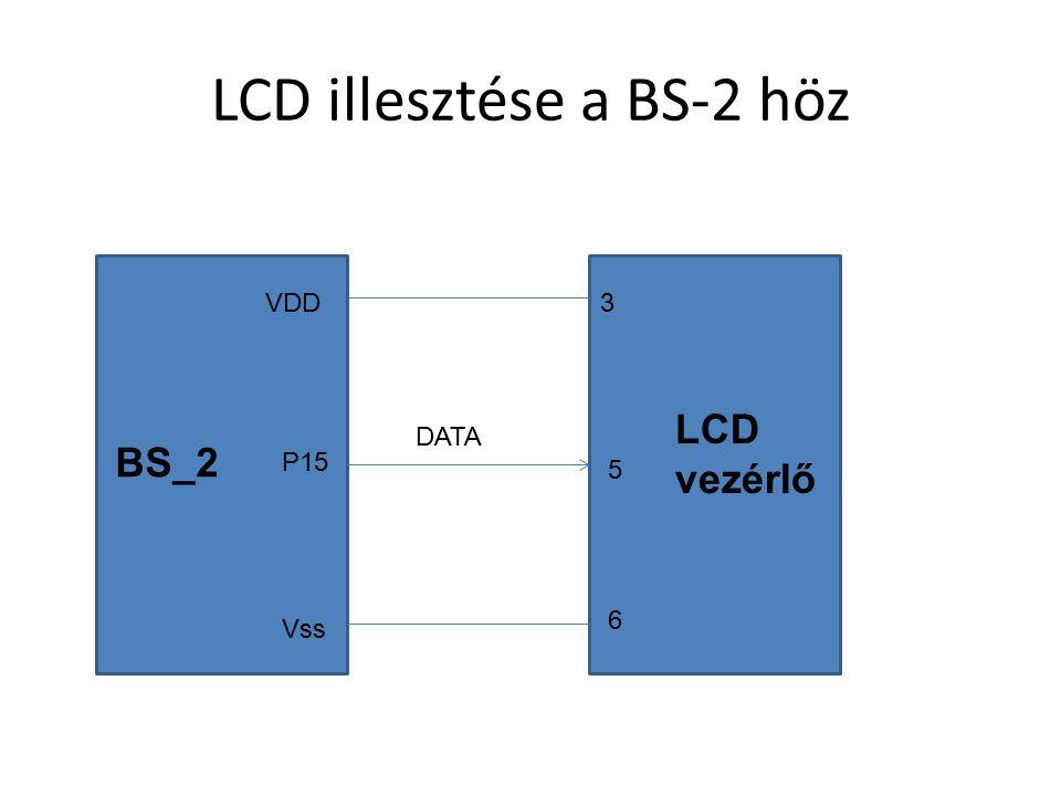 LCD illesztése a BS-2 höz P15 VDD Vss DATA 3 5 6 BS_2 LCD vezérlő