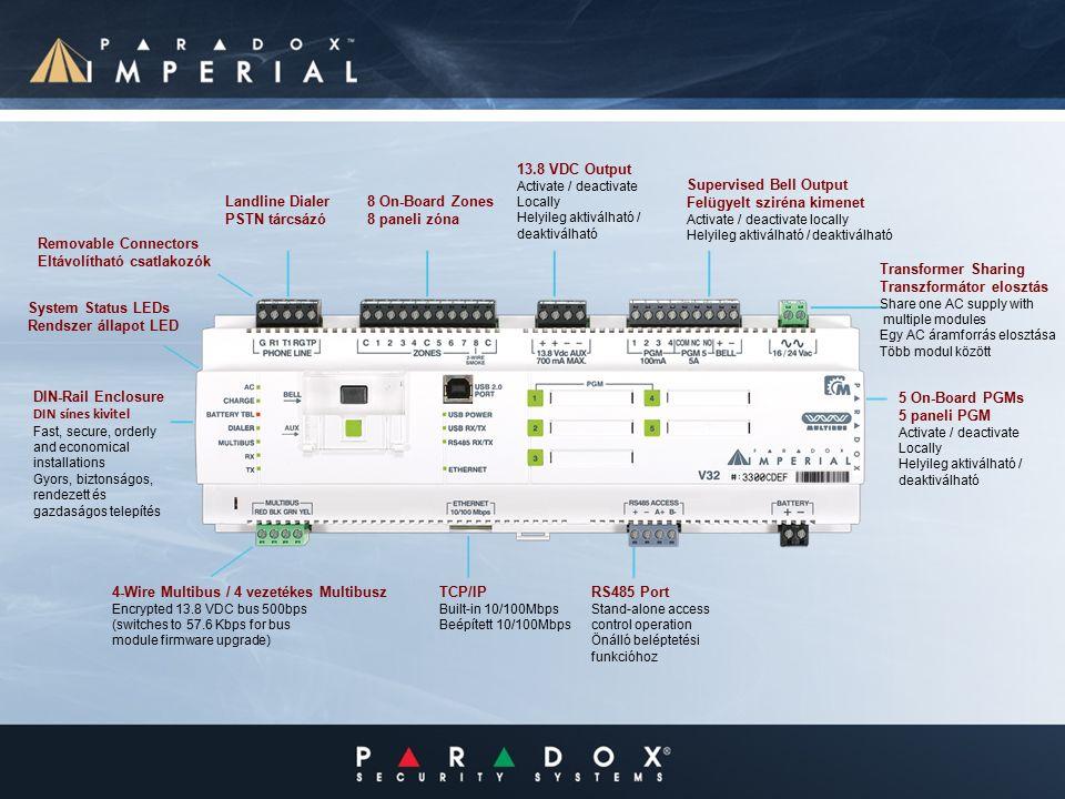 Removable Connectors Eltávolítható csatlakozók Landline Dialer PSTN tárcsázó 8 On-Board Zones 8 paneli zóna 13.8 VDC Output Activate / deactivate Locally Helyileg aktiválható / deaktiválható Supervised Bell Output Felügyelt sziréna kimenet Activate / deactivate locally Helyileg aktiválható / deaktiválható System Status LEDs Rendszer állapot LED DIN-Rail Enclosure DIN sínes kivitel Fast, secure, orderly and economical installations Gyors, biztonságos, rendezett és gazdaságos telepítés 4-Wire Multibus / 4 vezetékes Multibusz Encrypted 13.8 VDC bus 500bps (switches to 57.6 Kbps for bus module firmware upgrade) TCP/IP Built-in 10/100Mbps Beépített 10/100Mbps RS485 Port Stand-alone access control operation Önálló beléptetési funkcióhoz 5 On-Board PGMs 5 paneli PGM Activate / deactivate Locally Helyileg aktiválható / deaktiválható Transformer Sharing Transzformátor elosztás Share one AC supply with multiple modules Egy AC áramforrás elosztása Több modul között
