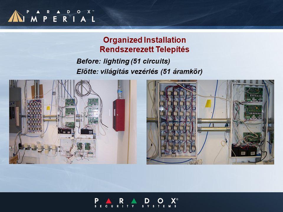 Organized Installation Rendszerezett Telepítés Before: lighting (51 circuits) Előtte: világítás vezérlés (51 áramkör)