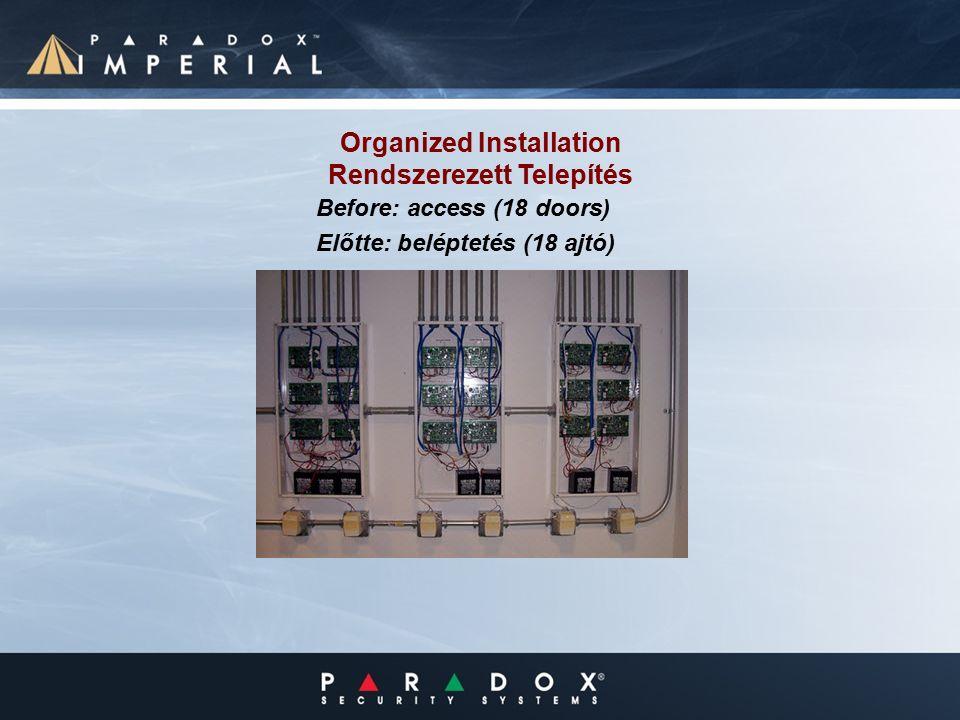 Organized Installation Rendszerezett Telepítés Before: access (18 doors) Előtte: beléptetés (18 ajtó)