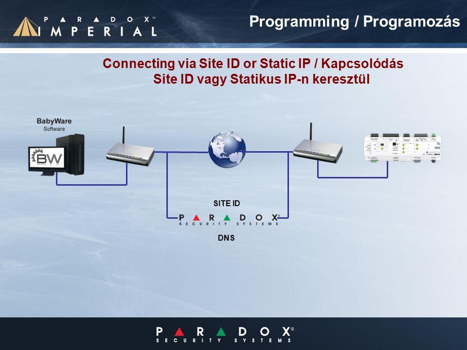 Programming / Programozás Connecting via Site ID or Static IP / Kapcsolódás Site ID vagy Statikus IP-n keresztül SITE ID DNS