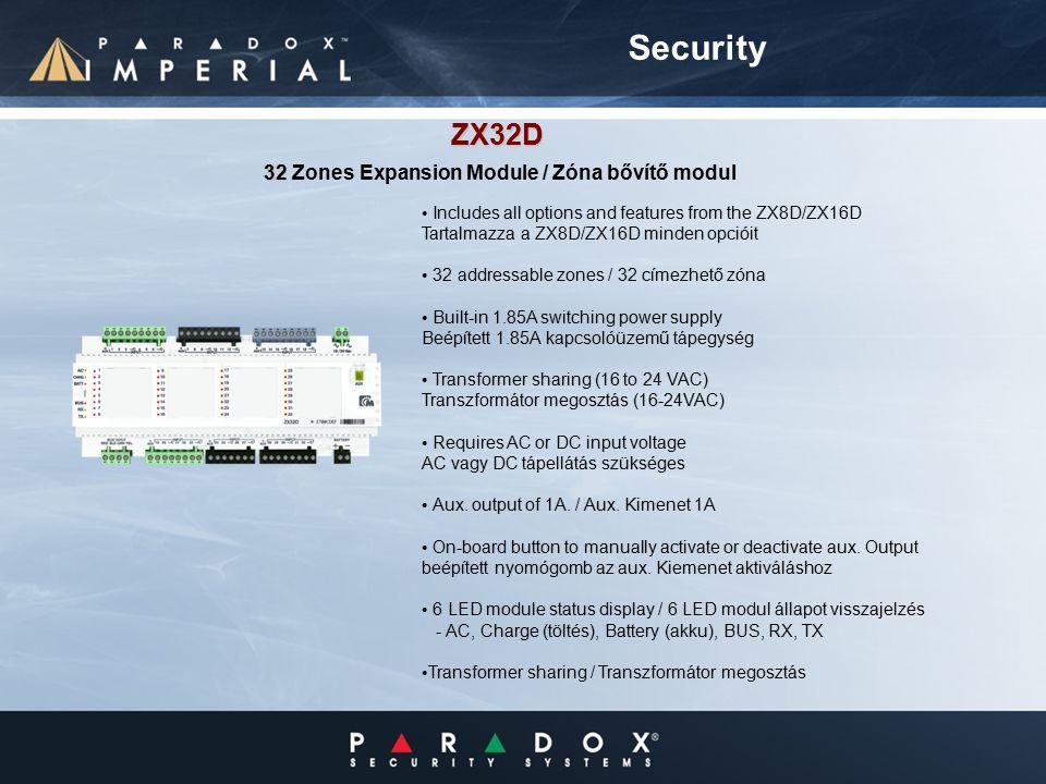 Includes all options and features from the ZX8D/ZX16D Tartalmazza a ZX8D/ZX16D minden opcióit 32 addressable zones / 32 címezhető zóna Built-in 1.85A switching power supply Beépített 1.85A kapcsolóüzemű tápegység Transformer sharing (16 to 24 VAC) Transzformátor megosztás (16-24VAC) Requires AC or DC input voltage AC vagy DC tápellátás szükséges Aux.