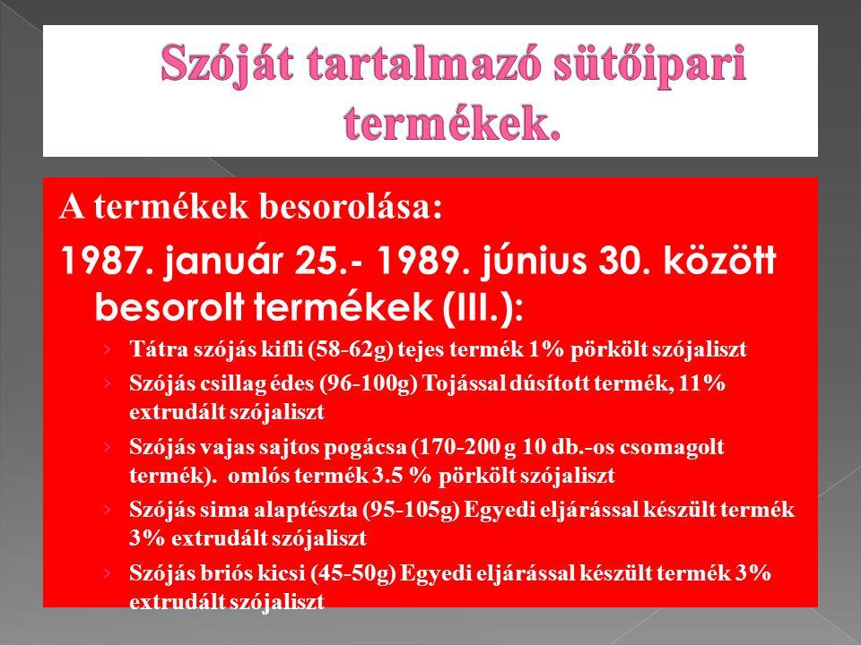 A termékek besorolása: 1987. január 25.- 1989. június 30.