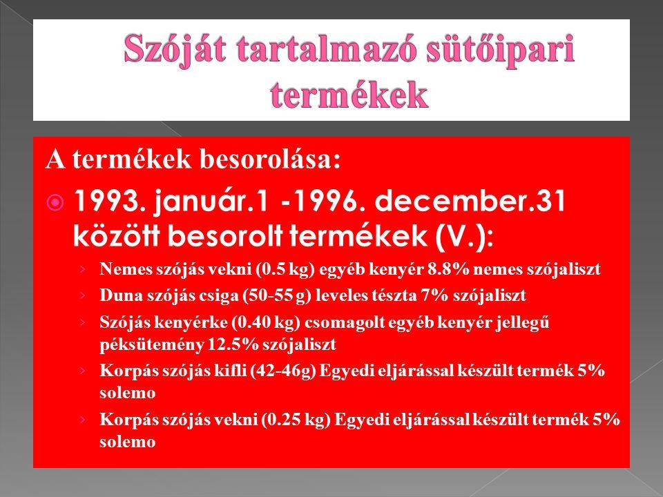 A termékek besorolása:  1993. január.1 -1996.