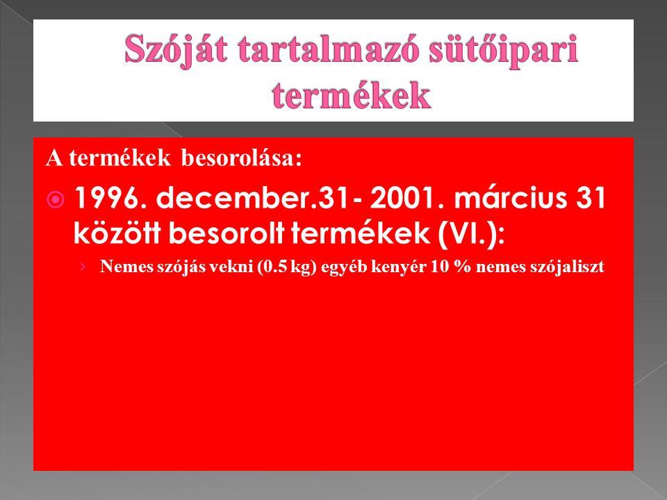 A termékek besorolása:  1996. december.31- 2001.