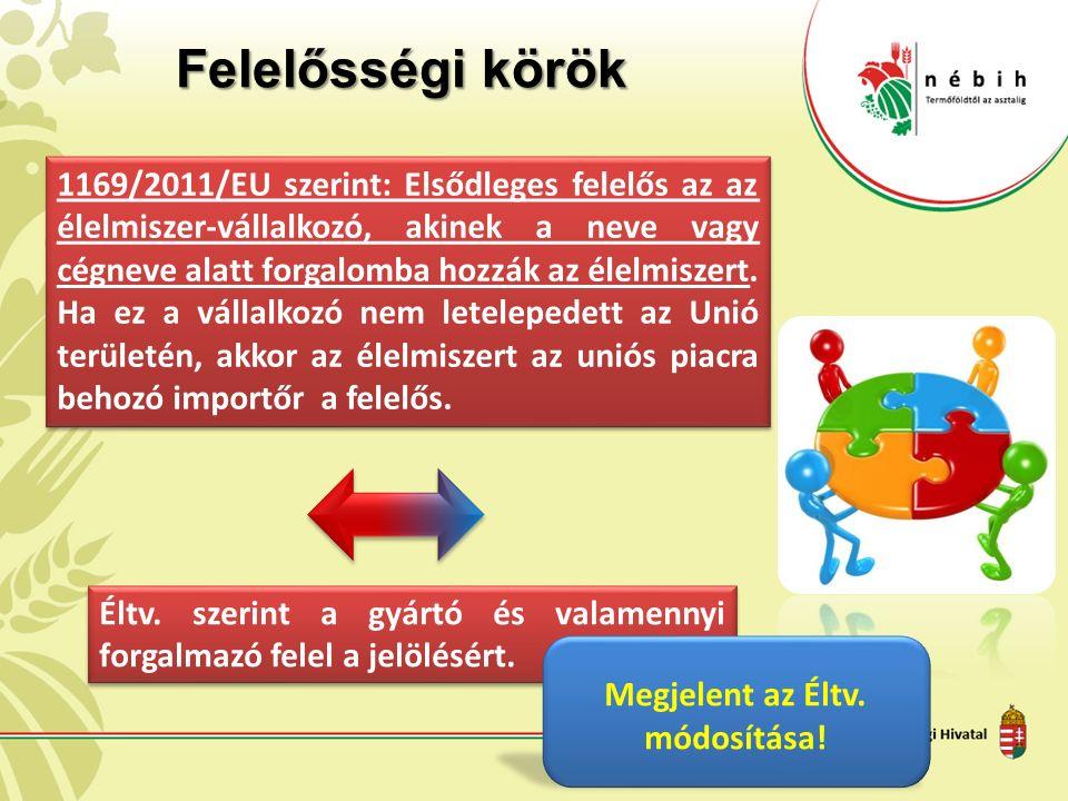Felelősségi körök 1169/2011/EU szerint: Elsődleges felelős az az élelmiszer-vállalkozó, akinek a neve vagy cégneve alatt forgalomba hozzák az élelmiszert.