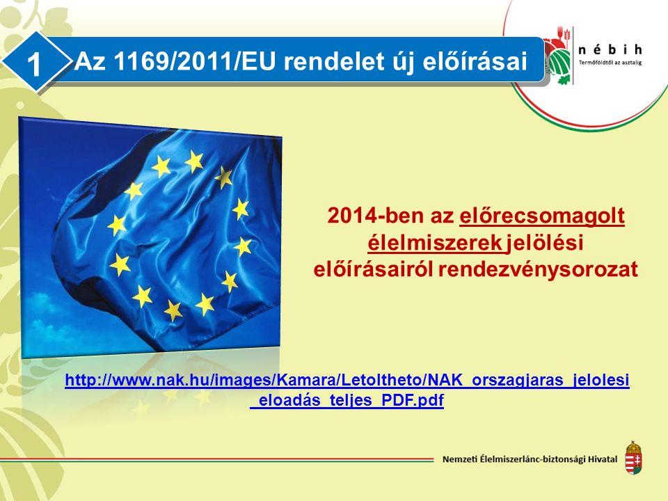 Az 1169/2011/EU rendelet új előírásai 1 2014-ben az előrecsomagolt élelmiszerek jelölési előírásairól rendezvénysorozat http://www.nak.hu/images/Kamara/Letoltheto/NAK_orszagjaras_jelolesi _eloadás_teljes_PDF.pdf