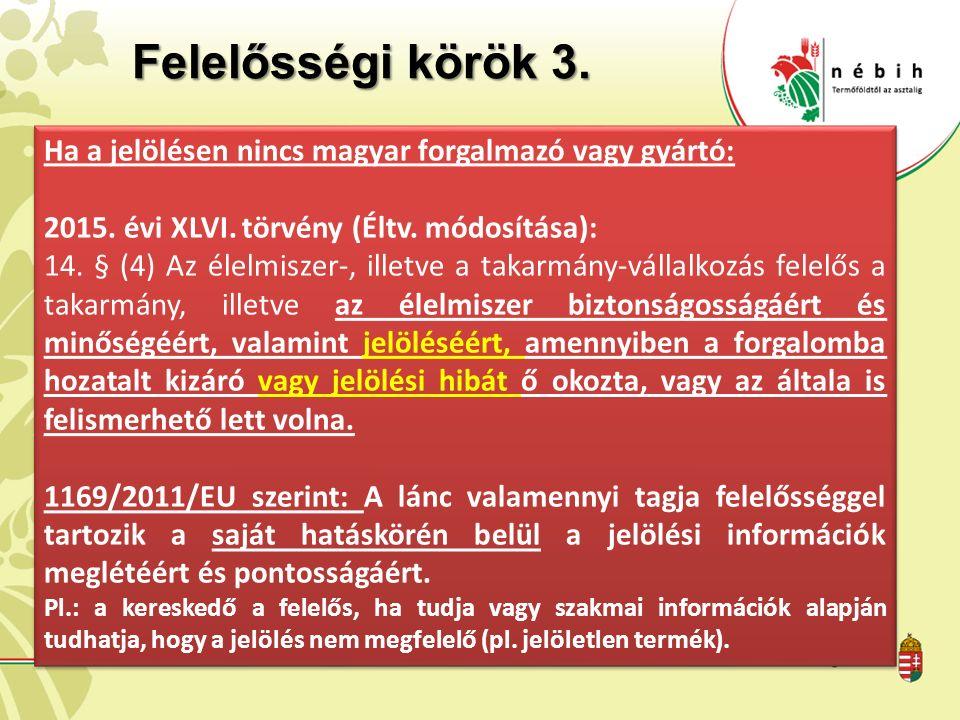 Felelősségi körök 3.Ha a jelölésen nincs magyar forgalmazó vagy gyártó: 2015.