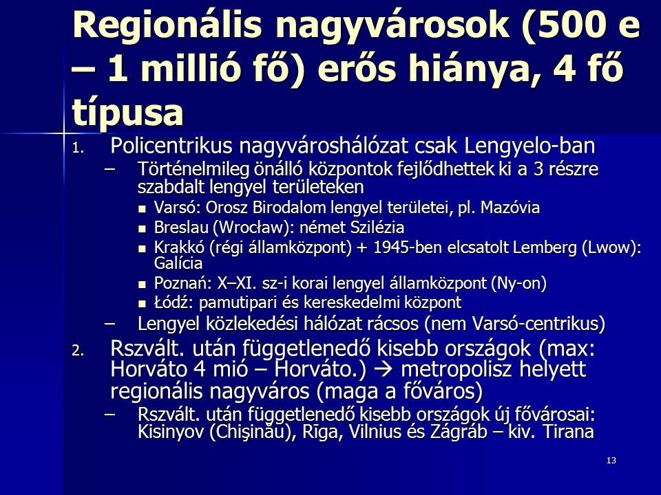 13 Regionális nagyvárosok (500 e – 1 millió fő) erős hiánya, 4 fő típusa 1. Policentrikus nagyvároshálózat csak Lengyelo-ban –Történelmileg önálló köz