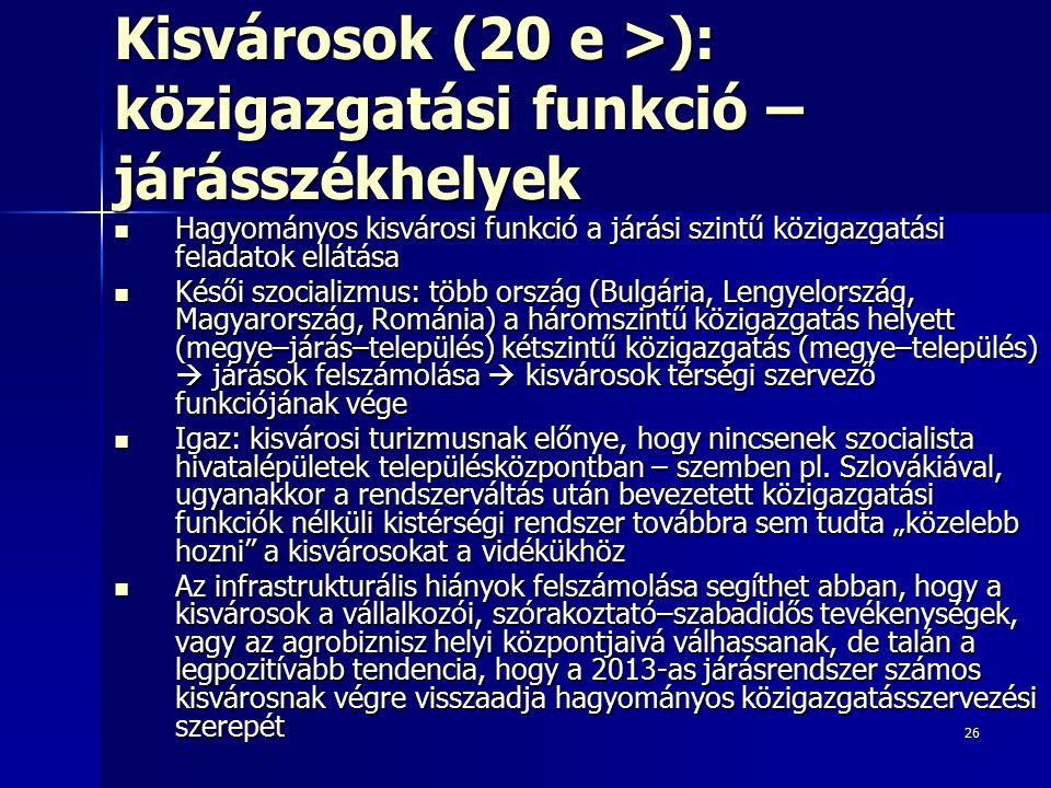26 Kisvárosok (20 e >): közigazgatási funkció – járásszékhelyek Hagyományos kisvárosi funkció a járási szintű közigazgatási feladatok ellátása Hagyomá
