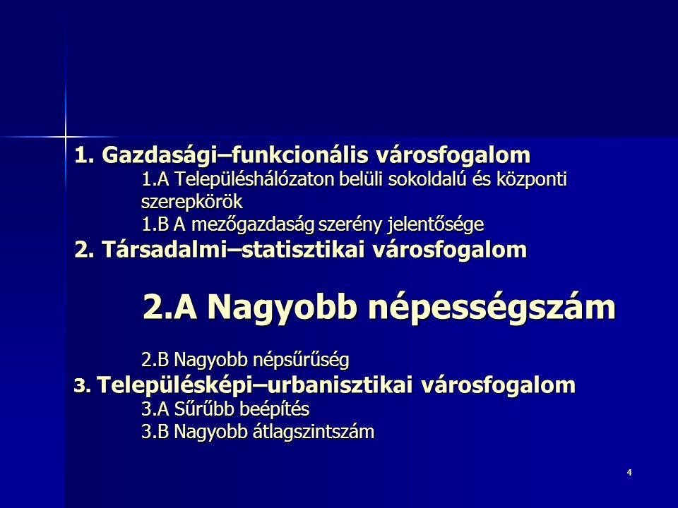 35 2.B Nagyobb népsűrűség Az OECD meghatározása szerint csupán Budapest számít túlnyomórészt urbánus karakterű NUTS3 régiónak Magyarországon, az utána következő Pest megye is csak 76 százalékkal rendelkezik Az OECD meghatározása szerint csupán Budapest számít túlnyomórészt urbánus karakterű NUTS3 régiónak Magyarországon, az utána következő Pest megye is csak 76 százalékkal rendelkezik –NUTS2 és NUTS1 régiók szintjén Közép-Magyarország a 90 százalékos értékével már túlnyomóan urbánus régiónak számítana a hazai régiók közül egyedüliként Ha a megyék (NUTS3) helyett a 2013-as járások (LAU1) szintjén végezzük el a lehatárolást, akkor Budapest mellett több urbánus járás is lehatárolható, ezek többsége Pest megyei (Budakeszi, Dunakeszi, Érdi, Gödöllői, Pilisvörösvári, Szigetszentmiklósi és Vecsési) vagy regionális központok környéki (Debreceni, Miskolci és Pécsi) járások Ha a megyék (NUTS3) helyett a 2013-as járások (LAU1) szintjén végezzük el a lehatárolást, akkor Budapest mellett több urbánus járás is lehatárolható, ezek többsége Pest megyei (Budakeszi, Dunakeszi, Érdi, Gödöllői, Pilisvörösvári, Szigetszentmiklósi és Vecsési) vagy regionális központok környéki (Debreceni, Miskolci és Pécsi) járások