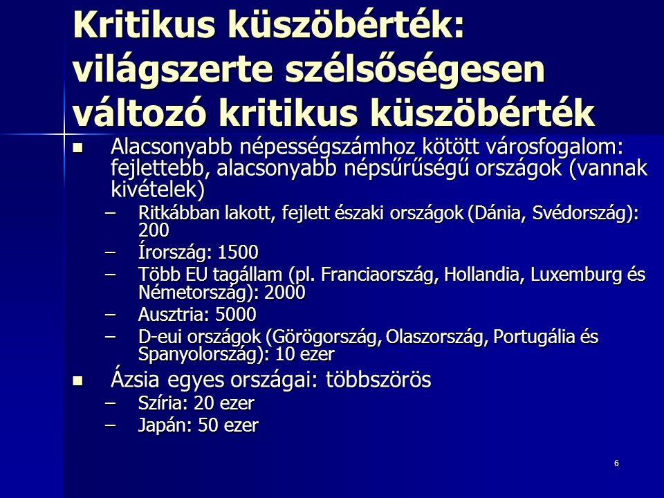 """17 Középvárosok (20–500 e) 20–500 ezres középváros: jellegzetes K-kö- és DK-eu-i településnagyság-kategória 20–500 ezres középváros: jellegzetes K-kö- és DK-eu-i településnagyság-kategória –Ny-Eu: kevésbé meghatározó –Mo: 3 mó fő ≈ városlakók fele Jellegzetes középvárostípusok Köztes-Eu-ban: Jellegzetes középvárostípusok Köztes-Eu-ban: 1.Újonnan függetlenedett utódállamok új fővárosai 2.Régió- és megyeszékhelyek 3.""""Szocialista iparvárosok 4.Agglomerációs középvárosok"""