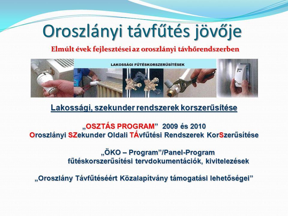 """Oroszlányi távfűtés jövője Lakossági, szekunder rendszerek korszerűsítése """"OSZTÁS PROGRAM 2009 és 2010 Oroszlányi SZekunder Oldali TÁvfűtési Rendszerek KorSzerűsítése """"ÖKO – Program /Panel-Program fűtéskorszerűsítési tervdokumentációk, kivitelezések """"Oroszlány Távfűtéséért Közalapítvány támogatási lehetőségei Elmúlt évek fejlesztései az oroszlányi távhőrendszerben"""
