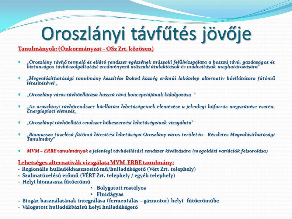 Oroszlányi távfűtés jövője Tanulmányok: (Önkormányzat – OSz Zrt.