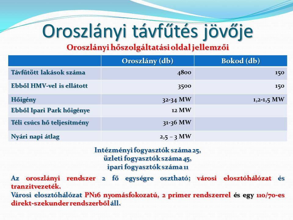 Oroszlányi távfűtés jövője Oroszlány (db) Bokod (db) Távfűtött lakások száma 4800150 Ebből HMV-vel is ellátott 3500150 Hőigény32-34 MW1,2-1,5 MW Ebből Ipari Park hőigénye 12 MW Téli csúcs hő teljesítmény 31-36 MW Nyári napi átlag 2,5 – 3 MW Az oroszlányi rendszer 2 fő egységre osztható; városi elosztóhálózat és tranzitvezeték.