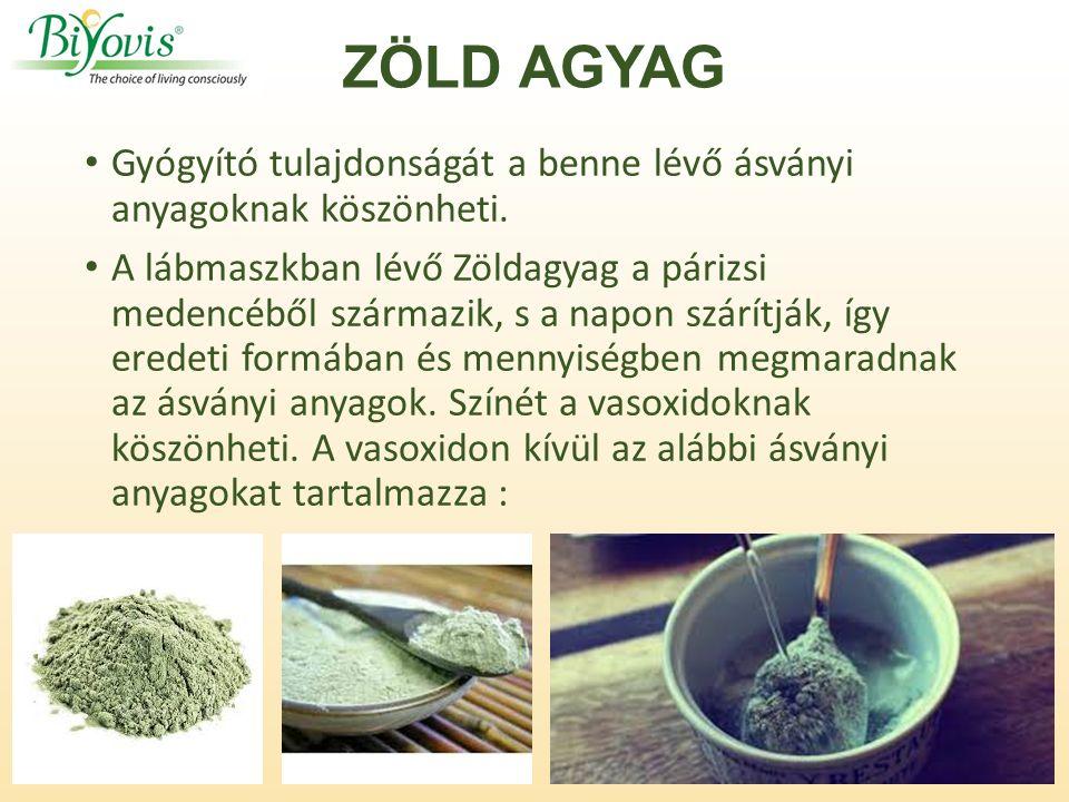 ZÖLD AGYAG Gyógyító tulajdonságát a benne lévő ásványi anyagoknak köszönheti.
