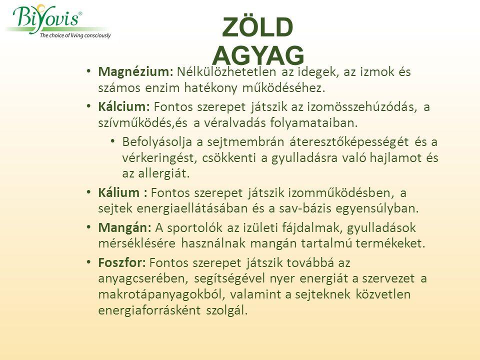 ZÖLD AGYAG Magnézium: Nélkülözhetetlen az idegek, az izmok és számos enzim hatékony működéséhez.