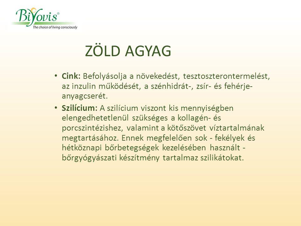 Cink: Befolyásolja a növekedést, tesztoszterontermelést, az inzulin működését, a szénhidrát-, zsír- és fehérje- anyagcserét.