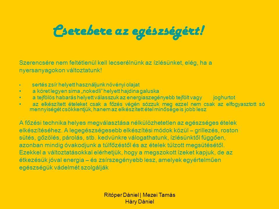 Ritóper Dániel | Mezei Tamás Háry Dániel Szerencsére nem feltétlenül kell lecserélnünk az ízlésünket, elég, ha a nyersanyagokon változtatunk.