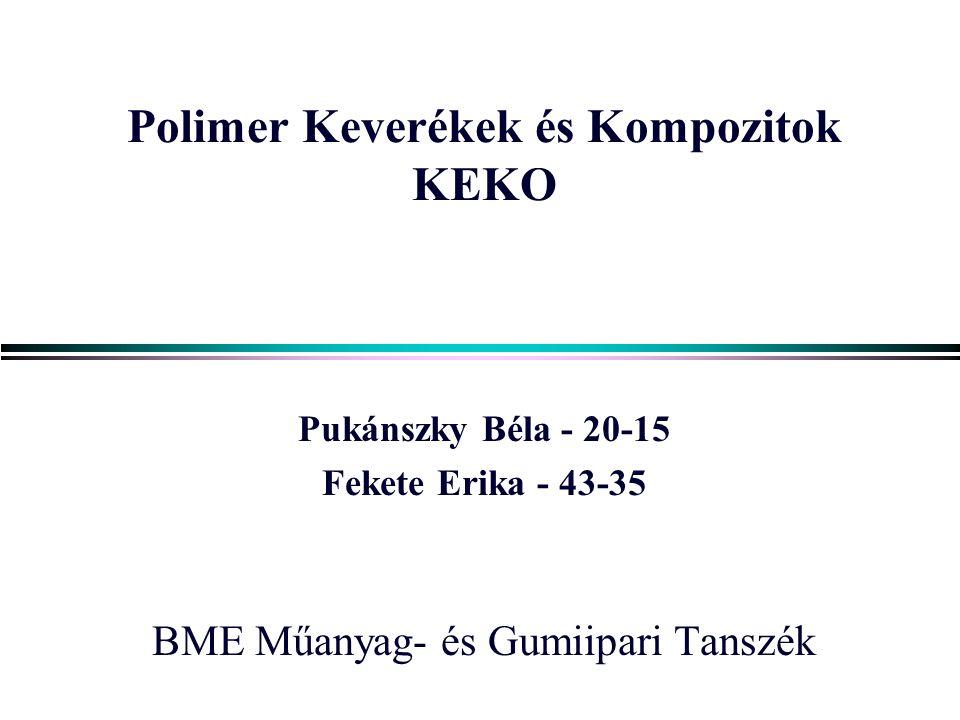 Polimer Keverékek és Kompozitok KEKO Pukánszky Béla - 20-15 Fekete Erika - 43-35 BME Műanyag- és Gumiipari Tanszék