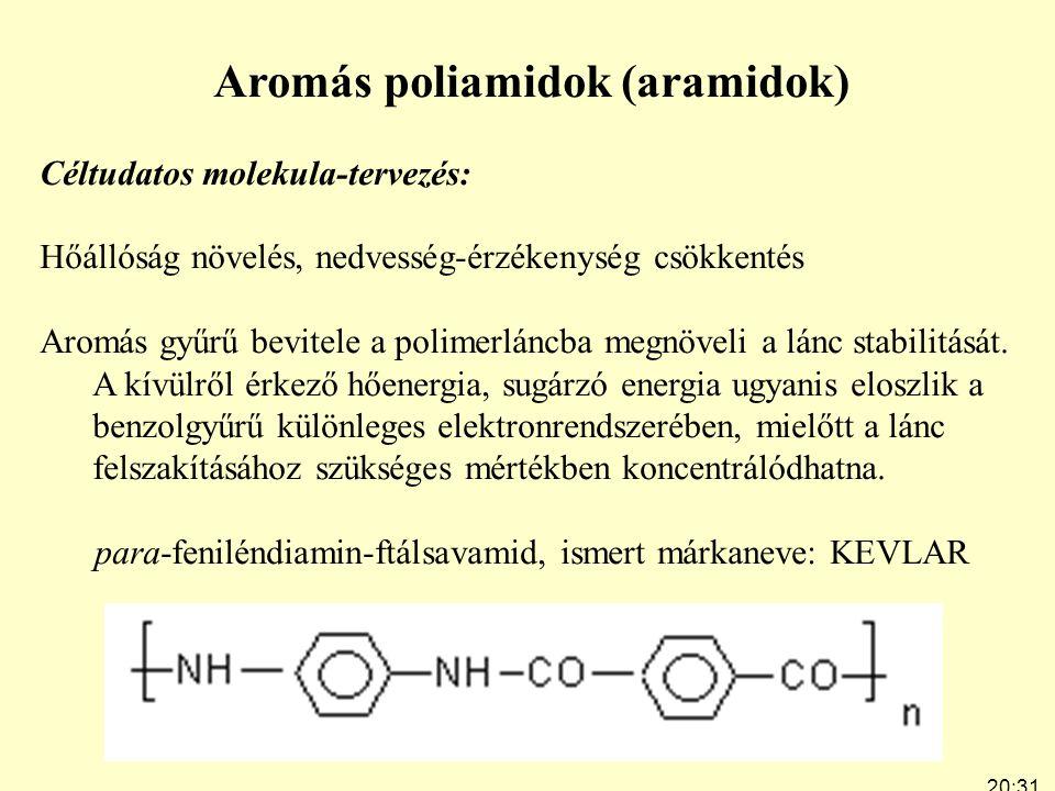 20:33 7:24 Aromás poliamidok (aramidok) Céltudatos molekula-tervezés: Hőállóság növelés, nedvesség-érzékenység csökkentés Aromás gyűrű bevitele a polimerláncba megnöveli a lánc stabilitását.