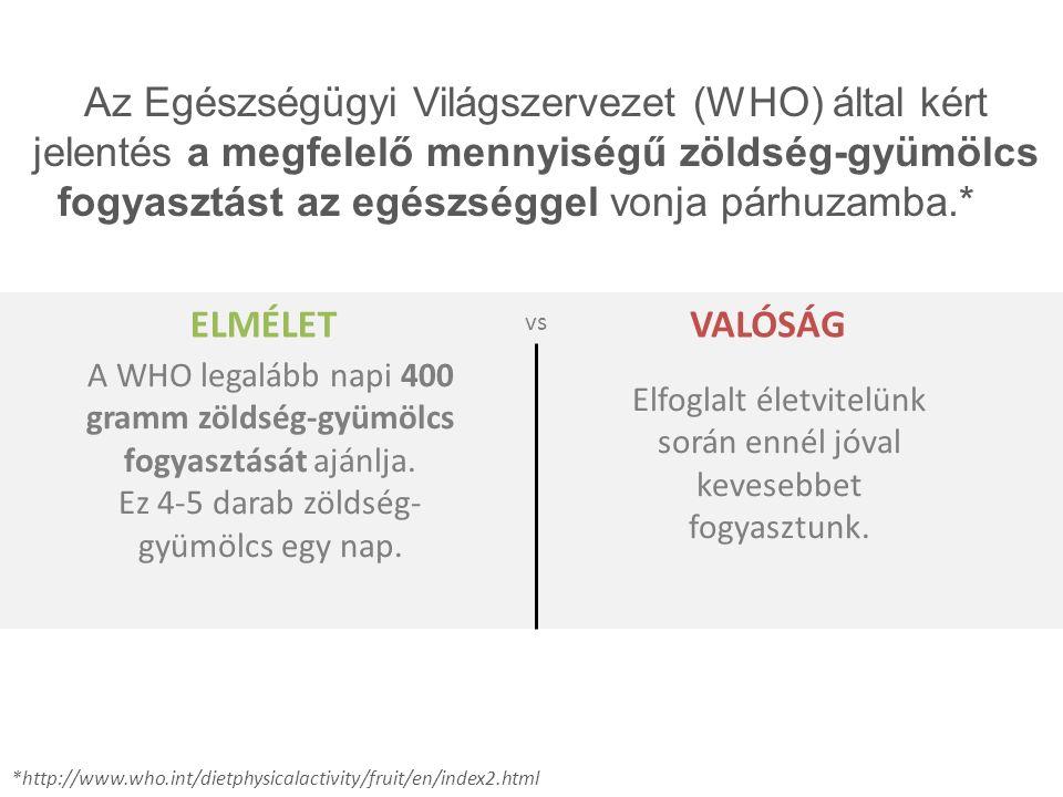 Az Egészségügyi Világszervezet (WHO) által kért jelentés a megfelelő mennyiségű zöldség-gyümölcs fogyasztást az egészséggel vonja párhuzamba.* *http:/