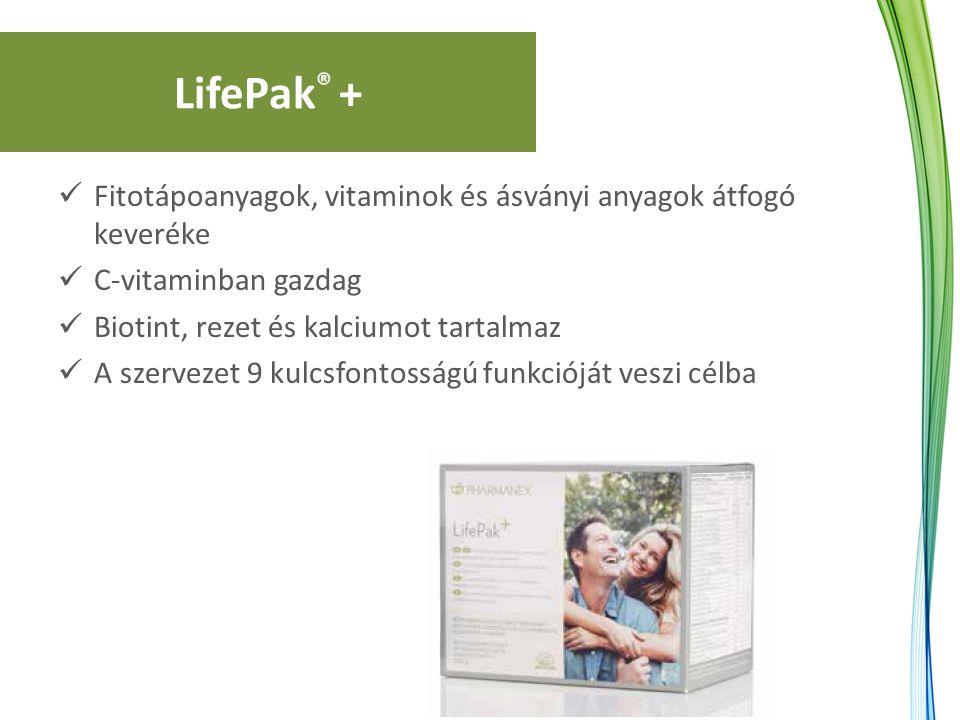LifePak ® + Fitotápoanyagok, vitaminok és ásványi anyagok átfogó keveréke C-vitaminban gazdag Biotint, rezet és kalciumot tartalmaz A szervezet 9 kulc