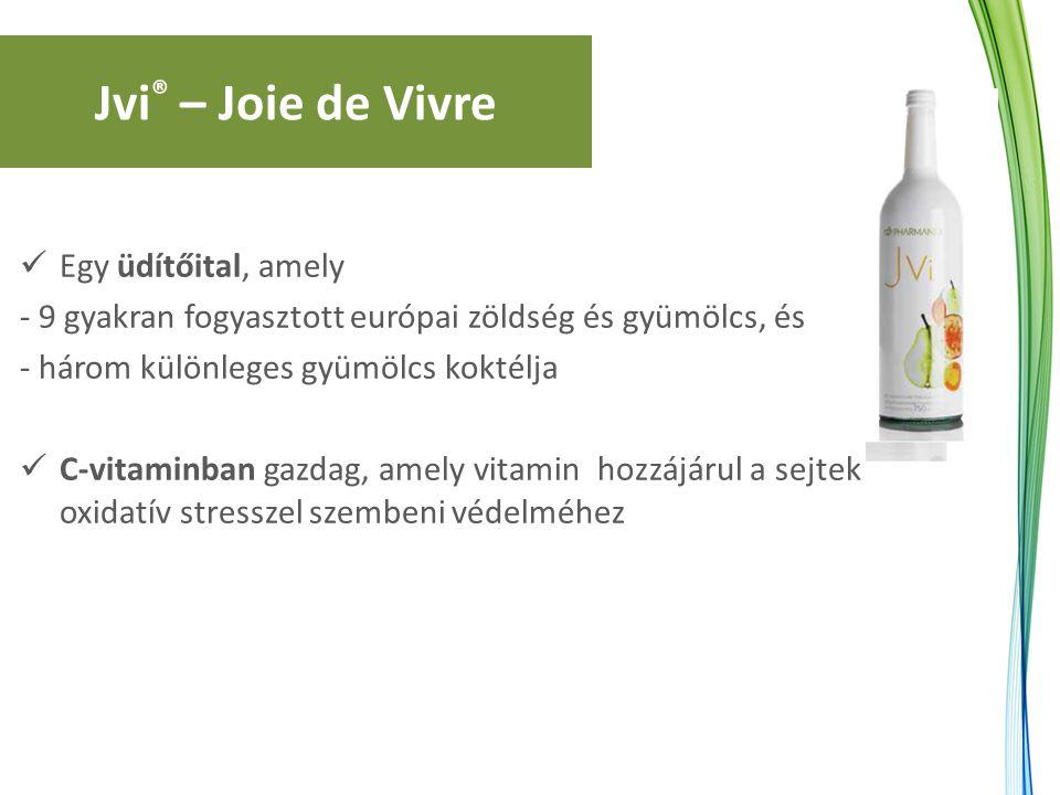 Jvi ® – Joie de Vivre Egy üdítőital, amely - 9 gyakran fogyasztott európai zöldség és gyümölcs, és - három különleges gyümölcs koktélja C-vitaminban g