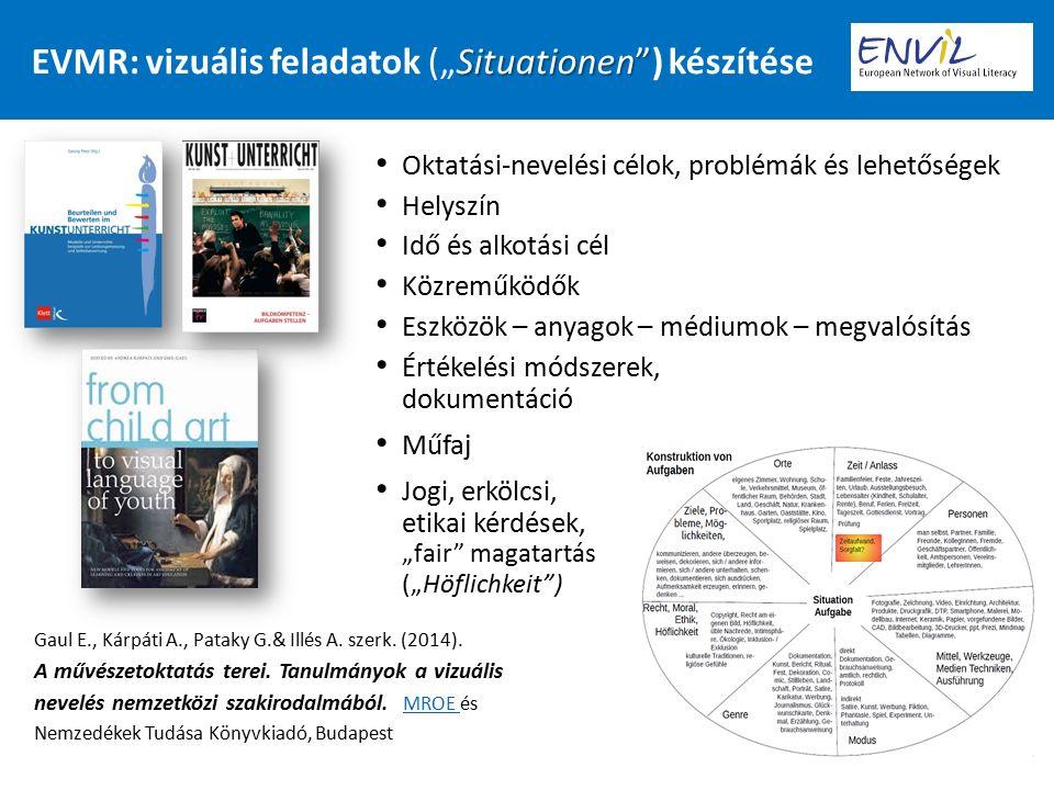 """Situationen EVMR: vizuális feladatok (""""Situationen ) készítése Oktatási-nevelési célok, problémák és lehetőségek Helyszín Idő és alkotási cél Közreműködők Eszközök – anyagok – médiumok – megvalósítás Értékelési módszerek, dokumentáció Műfaj Jogi, erkölcsi, etikai kérdések, """"fair magatartás (""""Höflichkeit ) Gaul E., Kárpáti A., Pataky G.& Illés A."""