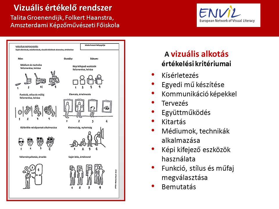 Vizuális értékelő rendszer Talita Groenendijk, Folkert Haanstra, Amszterdami Képzőművészeti Főiskola A vizuális alkotás értékelési kritériumai Kísérletezés Egyedi mű készítése Kommunikáció képekkel Tervezés Együttműködés Kitartás Médiumok, technikák alkalmazása Képi kifejező eszközök használata Funkció, stílus és műfaj megválasztása Bemutatás