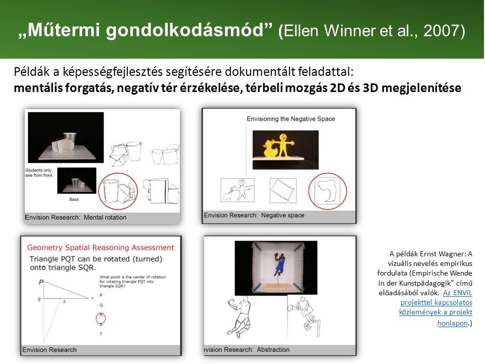 """""""Műtermi gondolkodásmód (Ellen Winner et al., 2007) Példák a képességfejlesztés segítésére dokumentált feladattal: mentális forgatás, negatív tér érzékelése, térbeli mozgás 2D és 3D megjelenítése A példák Ernst Wagner: A vizuális nevelés empirikus fordulata (Empirische Wende in der Kunstpädagogik című előadásából valók."""