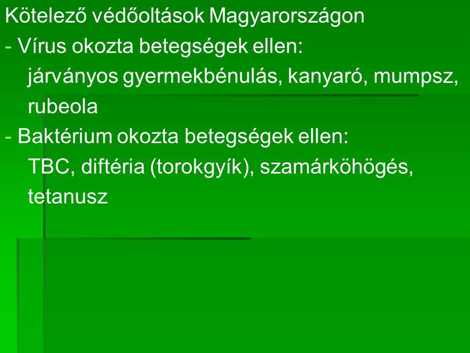 Kötelező védőoltások Magyarországon - - Vírus okozta betegségek ellen: járványos gyermekbénulás, kanyaró, mumpsz, rubeola - - Baktérium okozta betegségek ellen: TBC, diftéria (torokgyík), szamárköhögés, tetanusz