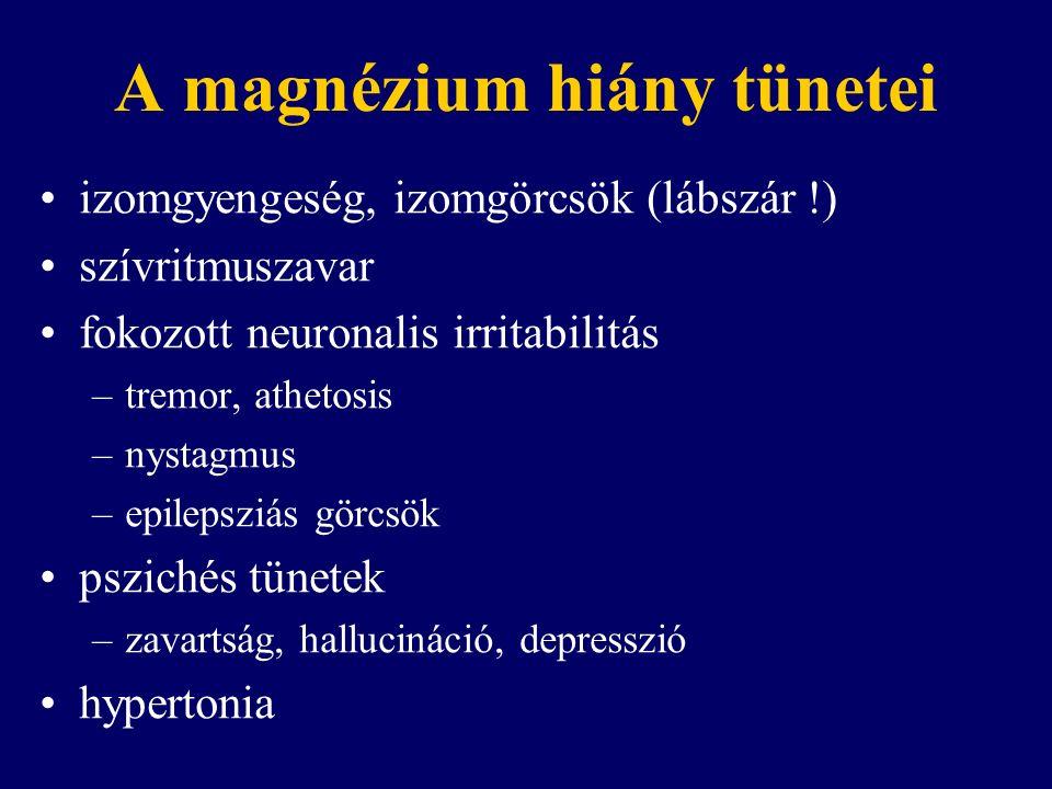 A magnézium hiány tünetei izomgyengeség, izomgörcsök (lábszár !) szívritmuszavar fokozott neuronalis irritabilitás –tremor, athetosis –nystagmus –epilepsziás görcsök pszichés tünetek –zavartság, hallucináció, depresszió hypertonia