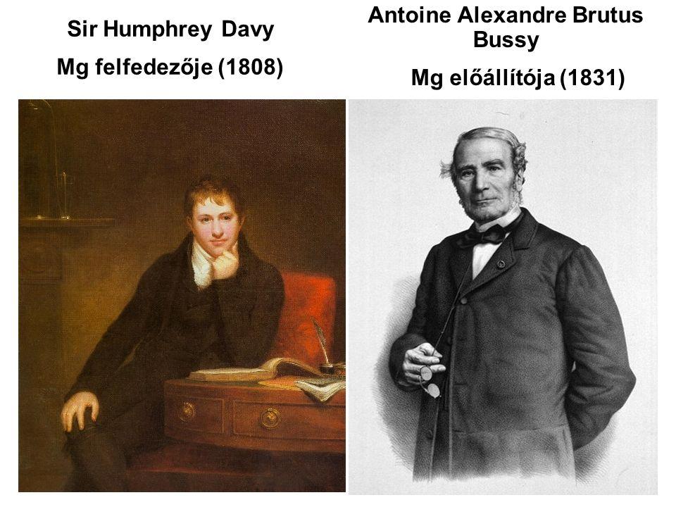 Sir Humphrey Davy Mg felfedezője (1808) Antoine Alexandre Brutus Bussy Mg előállítója (1831)